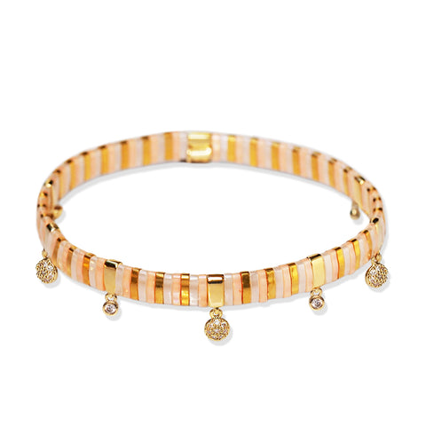 Handmade Gold Tila Bead Bracelet with Charms