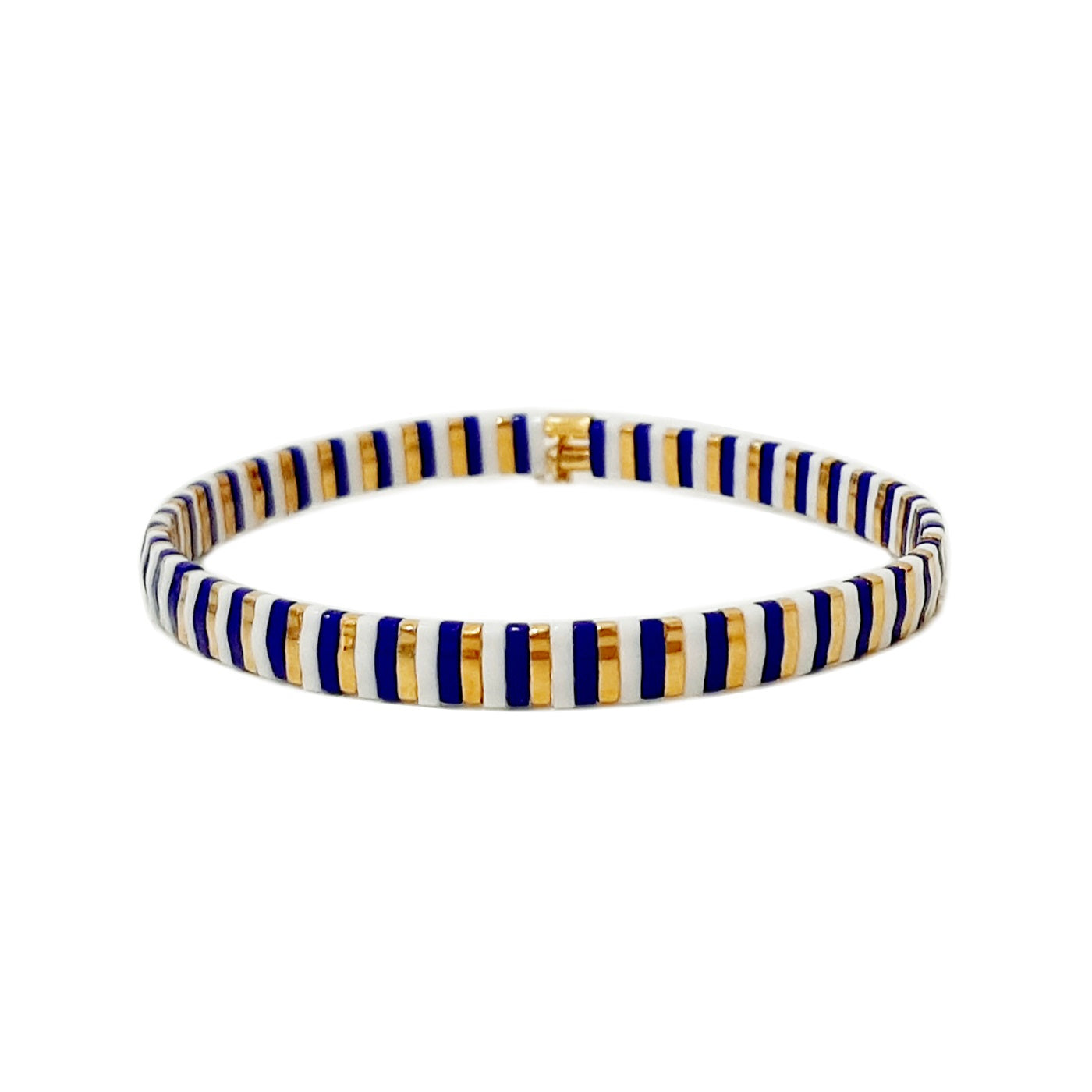 Handmade Tila Beaded Striped Stretch Bracelets