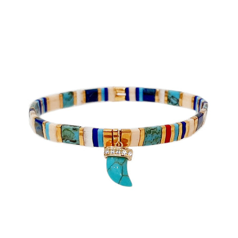 Handmade Stretch Tila Bead Bracelet with Turquoise Horn Charm