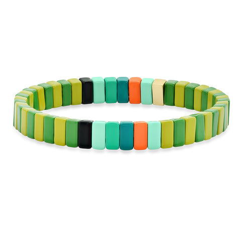Rectangular Multi-Colored Alloy Beaded Stretch Bracelet