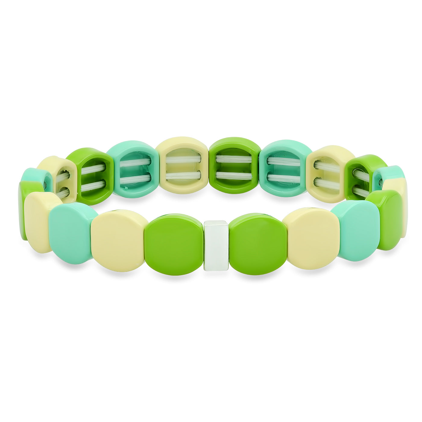 Round Green Alloy Beaded Bracelet