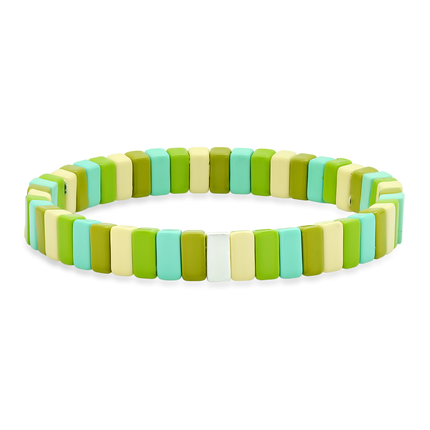 Rectangular Green Alloy Beaded Bracelet