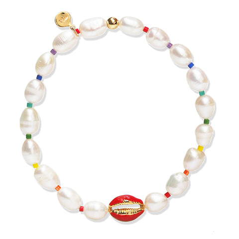 Handmade Pearl Bracelet with Sea Shell and Rainbow Accents