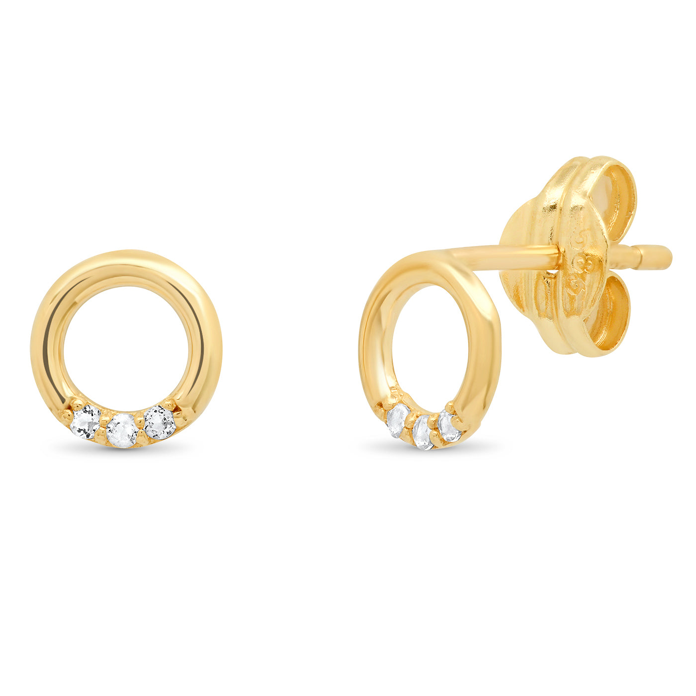 TAI Fine 14k Gold White Topaz Open Circle Studs
