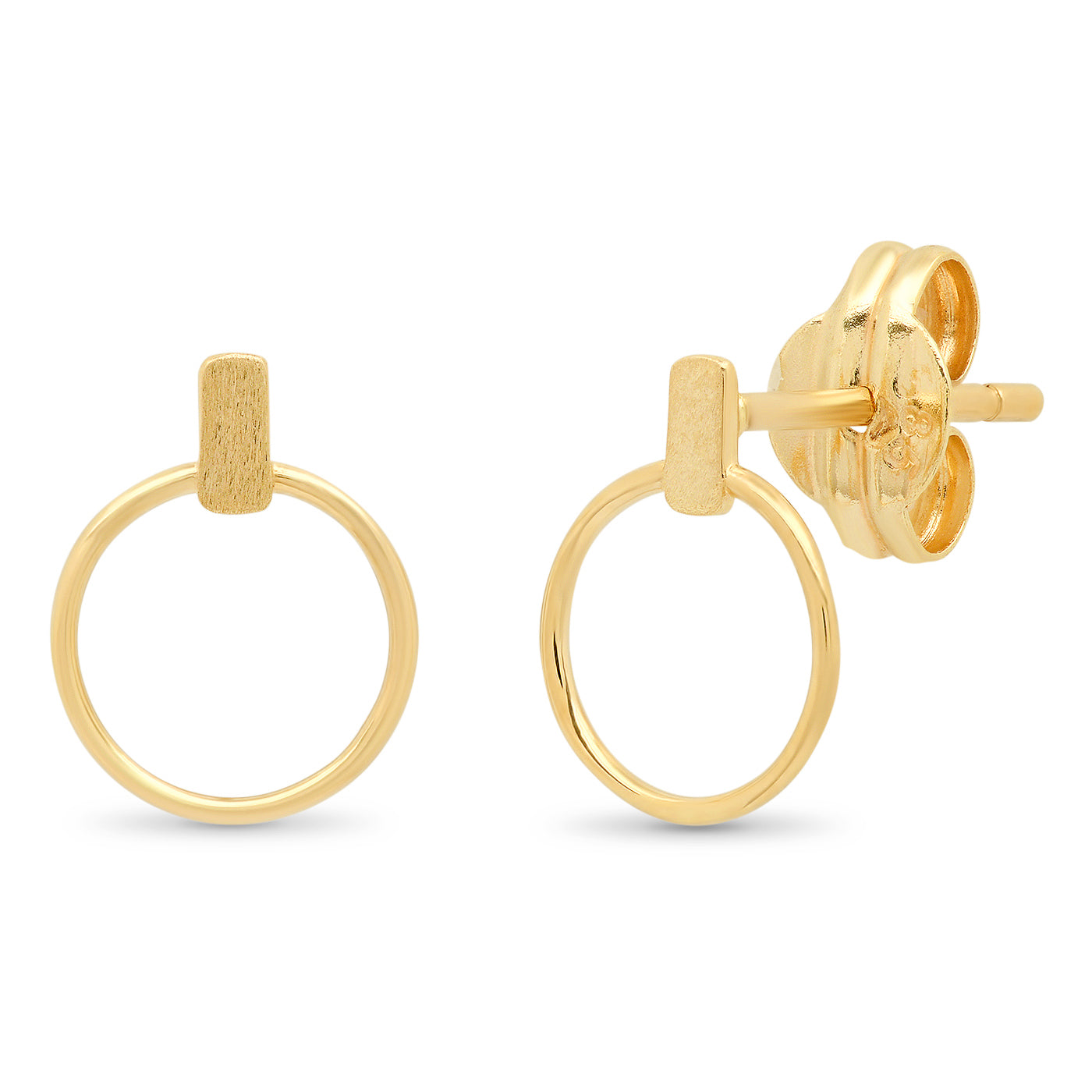 TAI Fine 14k Gold Stick Studs with Open Circle