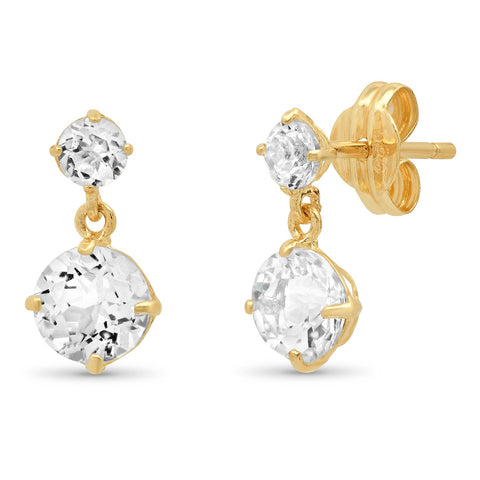 14K Gold White Topaz Drop Earring