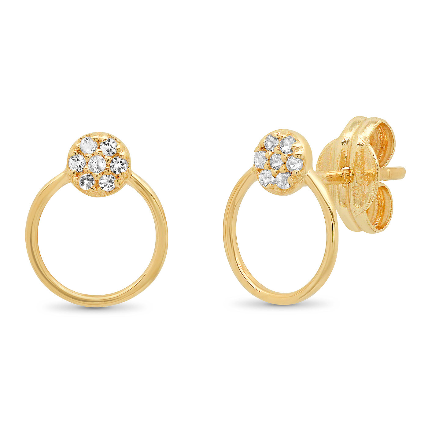 Tai Fine 14k Gold White Topaz Circle Studs with Open Circle