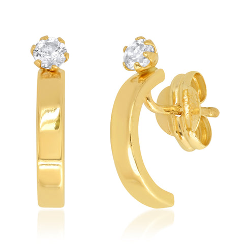 Tai Fine 14k Gold Huggies with White Topaz Accent