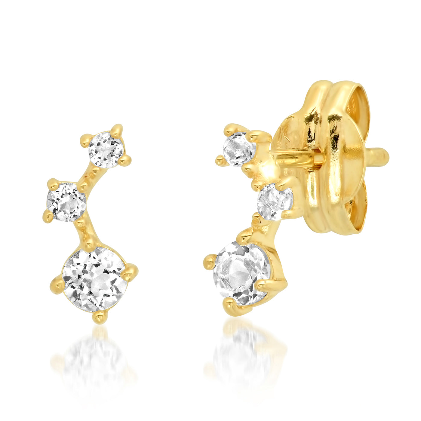Tai Fine 14k Gold Climber Earrings with White Topaz