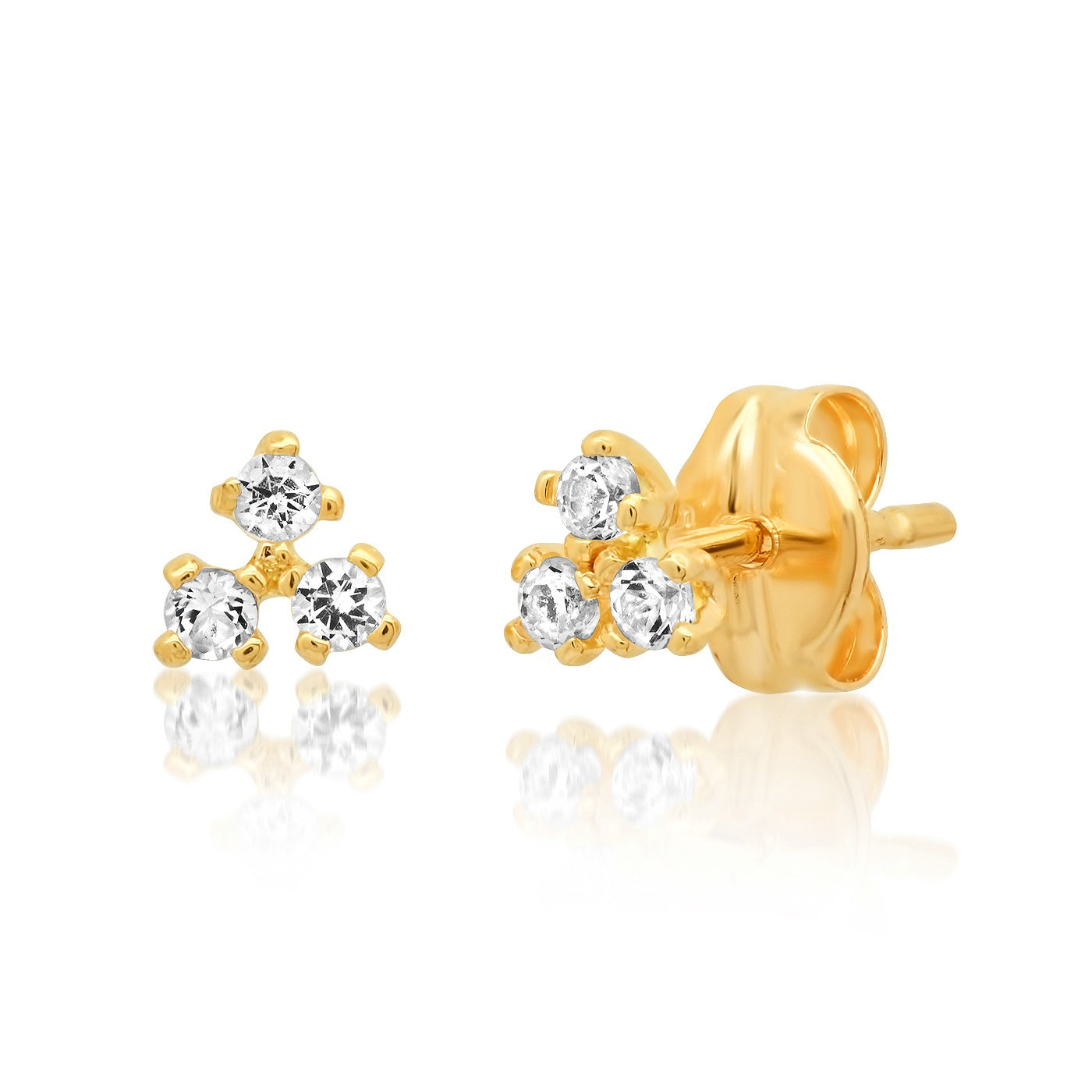 TAI Fine 14K Gold and White Topaz Cluster Earring