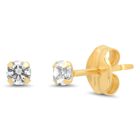 14K Gold 2.5MM Simple White Topaz Studs