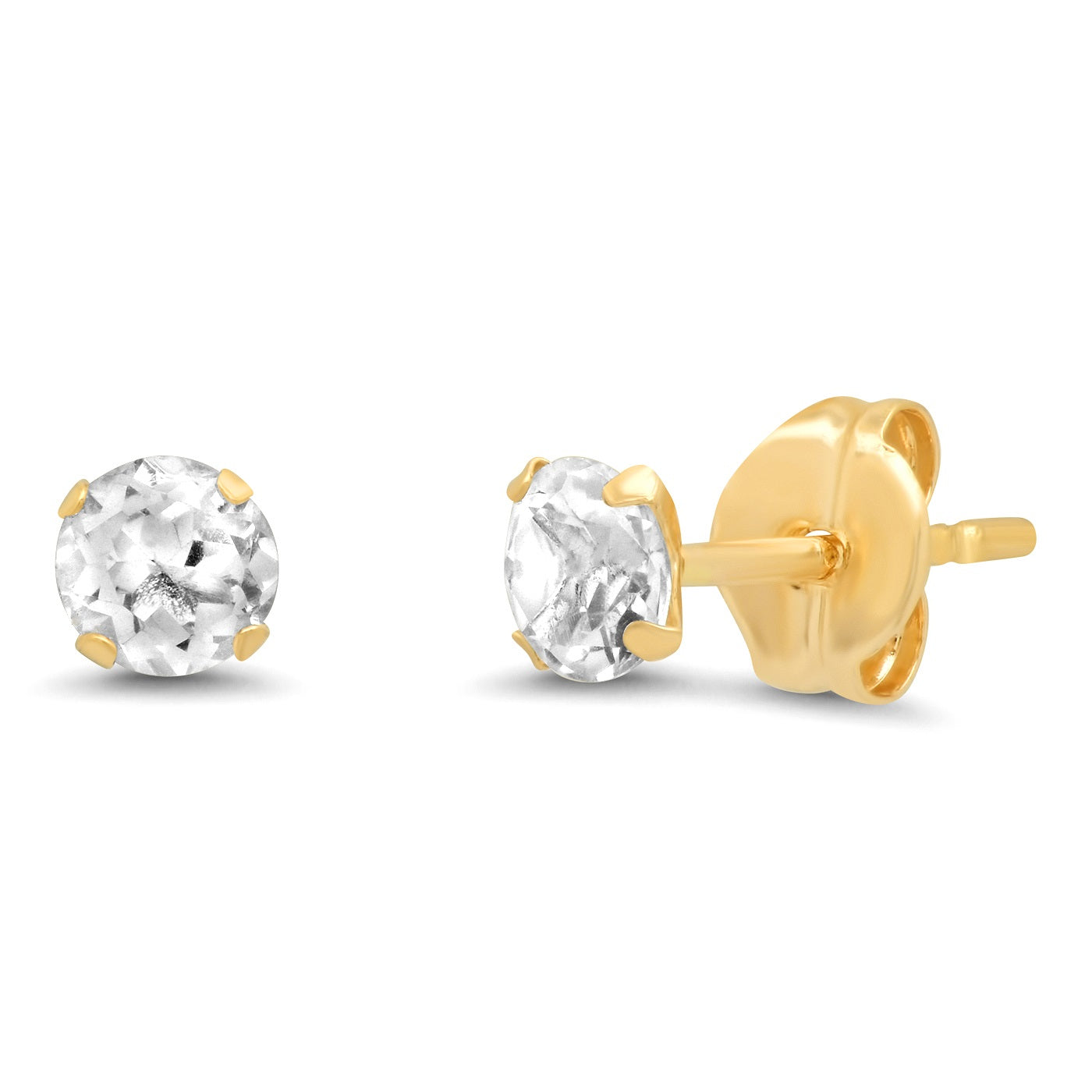 TAI Fine 14K Gold 3.5MM White Topaz Studs