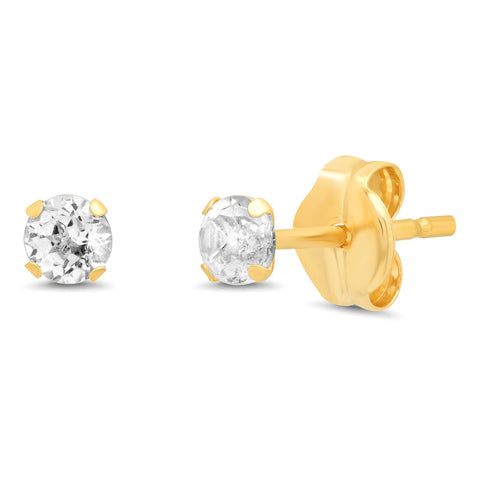 14K Gold 3MM Simple White Topaz Studs