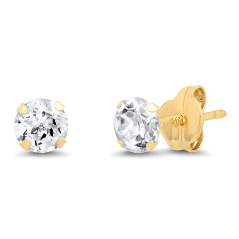 14K Gold 4MM White Topaz Studs