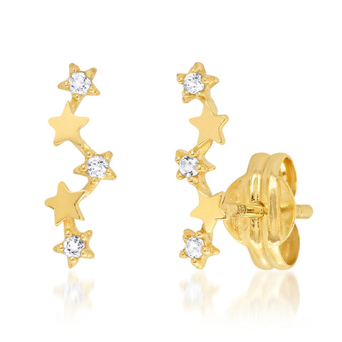 Tai Fine 14k White Topaz Star Climber Earrings