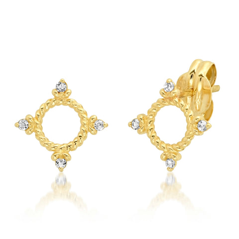 Tai Fine 14k Braided Gold Circle Studs with White Topaz Accents