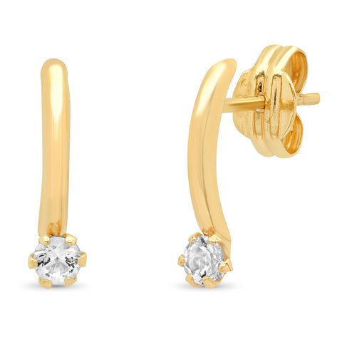 14k Gold Arc Stud with White Topaz Accent