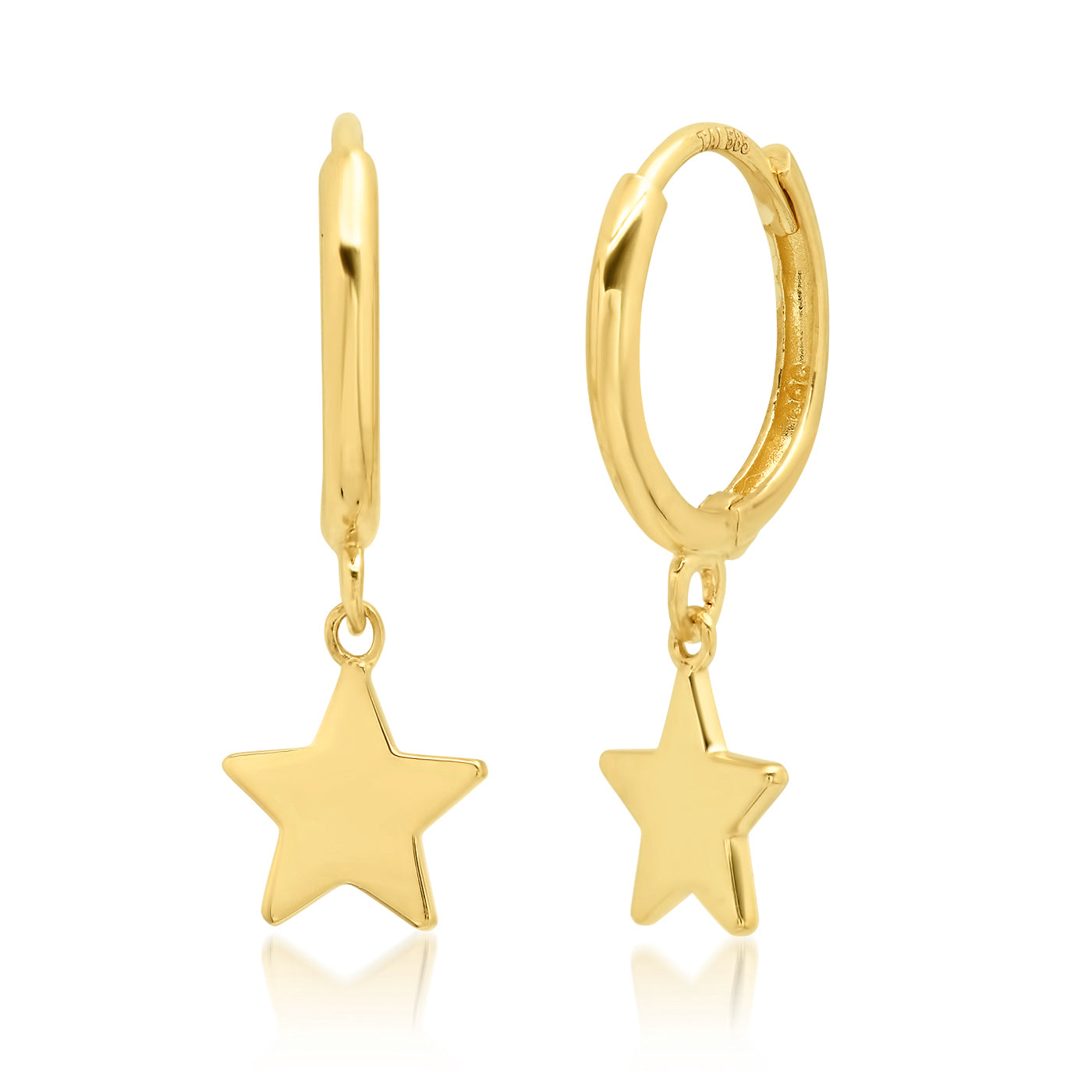 Tai Fine 14k Gold Hoops with Star Charm