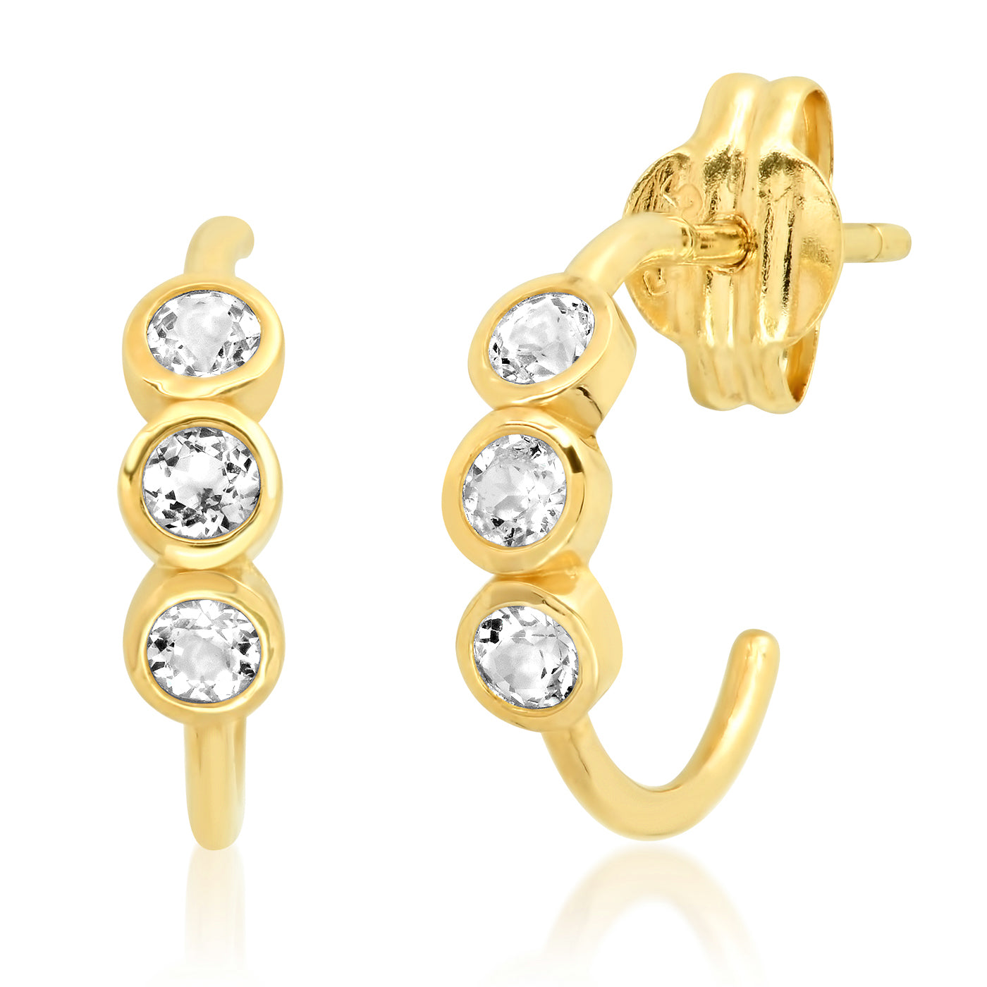 Tai Fine 14k Gold Hoop Earrings with White Topaz Accents
