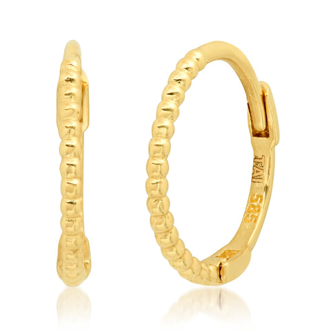 Tai Fine 14k Gold Ball Hinged Hoop Earrings