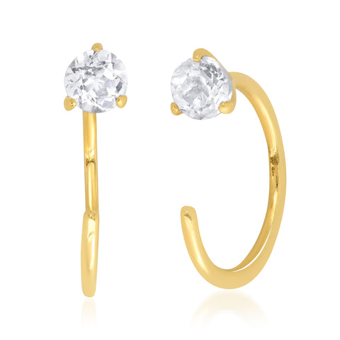 TAI Fine 14k Gold White Topaz Stud with Huggie