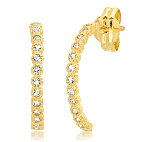 Tai Fine 14k Gold Half Hoop Earrings with White Topaz Accents
