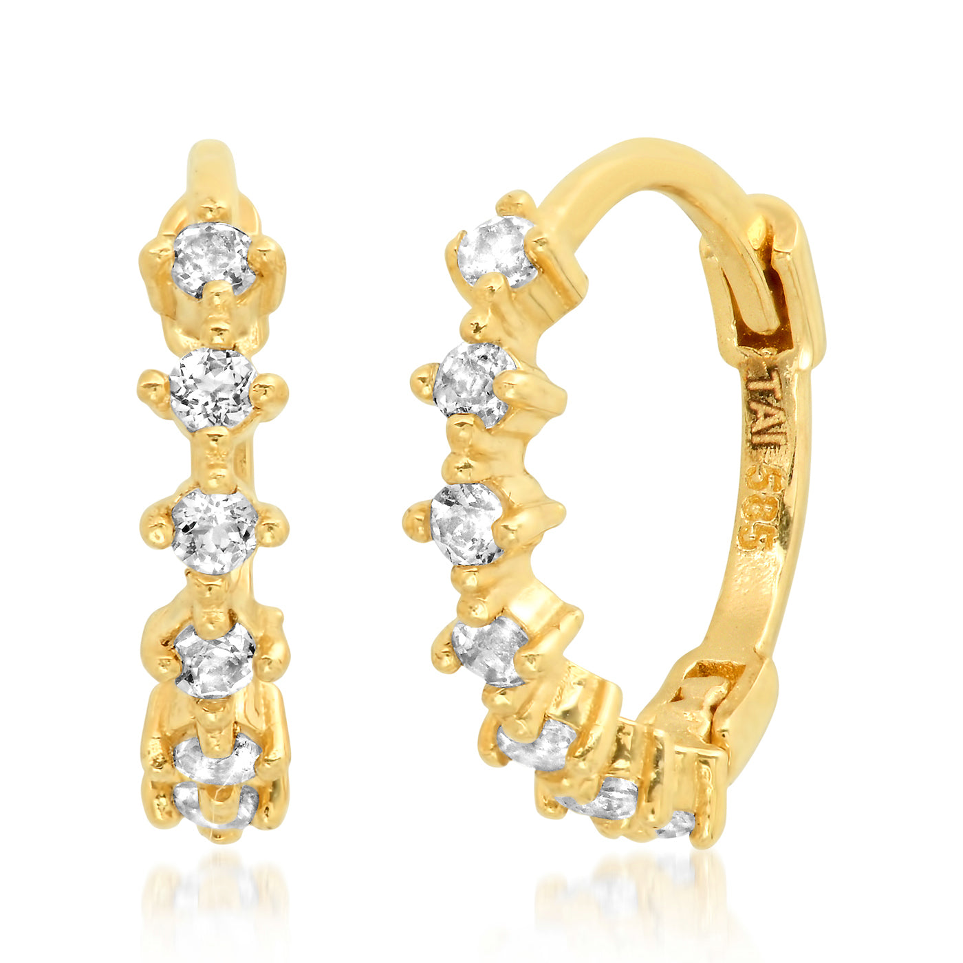 Tai Fine 14k Gold Hinged Hoop Earrings with White Topaz Accents