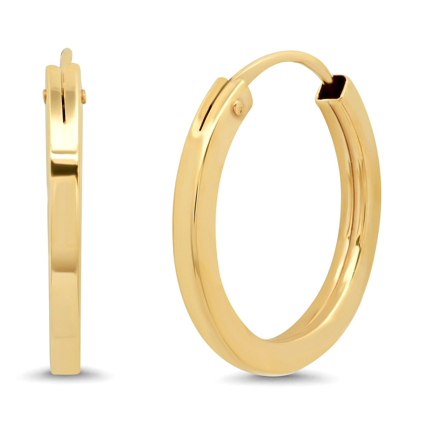 Tai Fine 14K Gold 14MM Squared Off Huggies