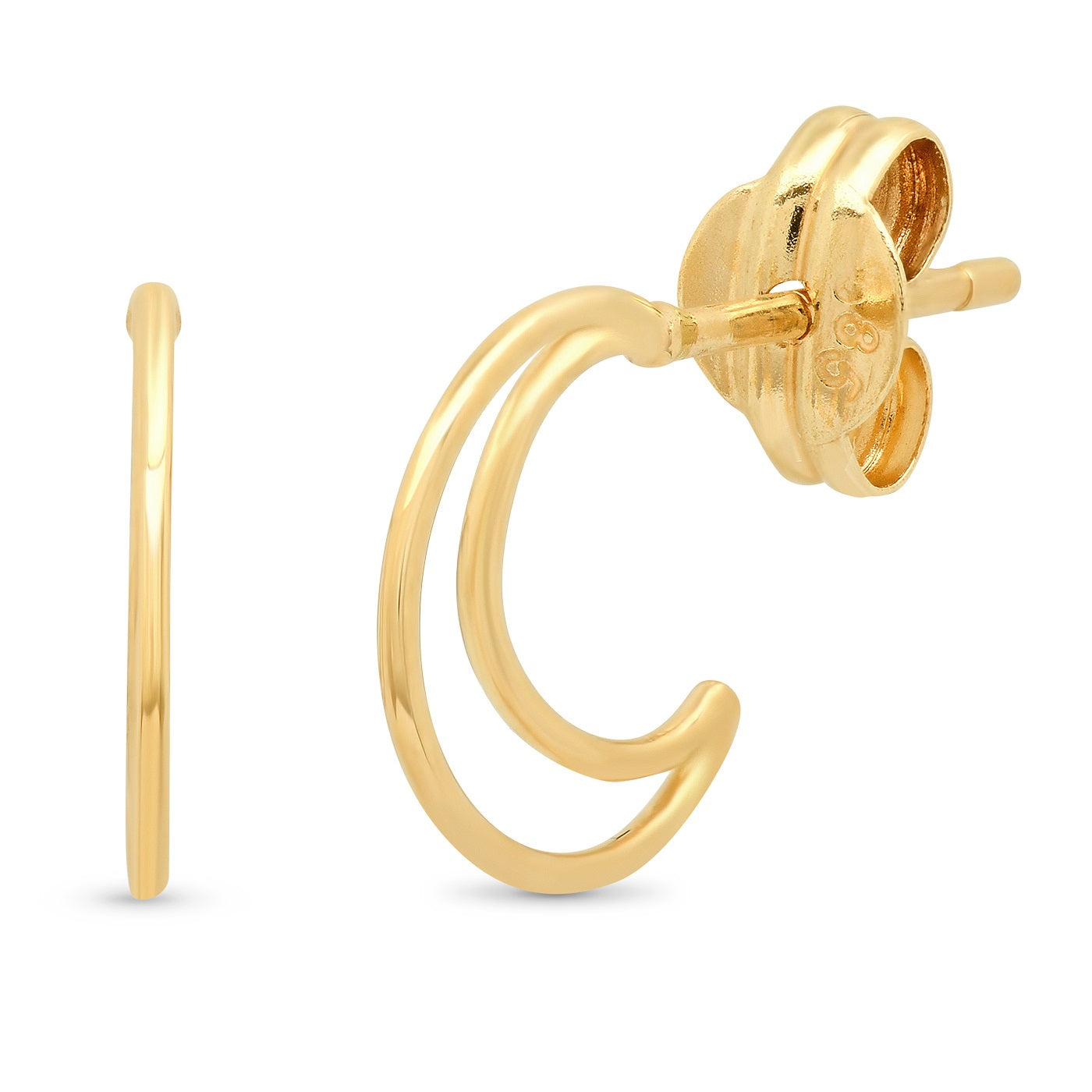 14K Gold Crescent Moon Huggies