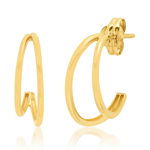 Tai Fine 14k Gold Double Crescent Hoop Earrings