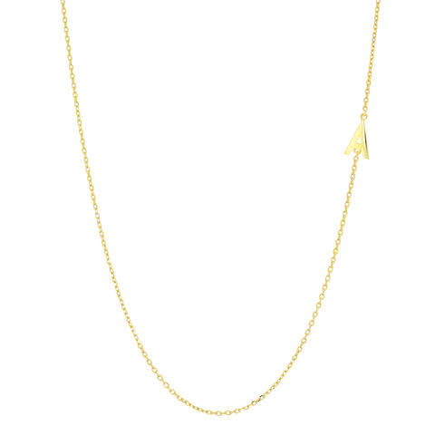 TAI Fine 14k Gold Sideways Initial Necklace