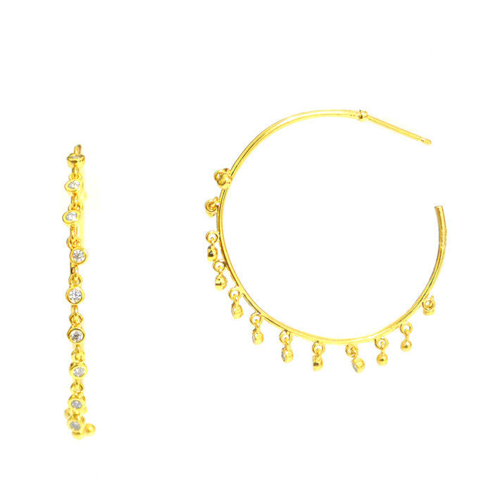 GOLD HOOP WITH MULTI DROPS