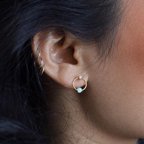 Open circle Opal Earrings
