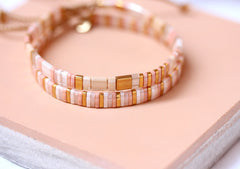 Stripes and Blocks Bracelet in Pink Sand