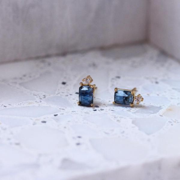 Blue Emerald Cut Stone with CZ Accent