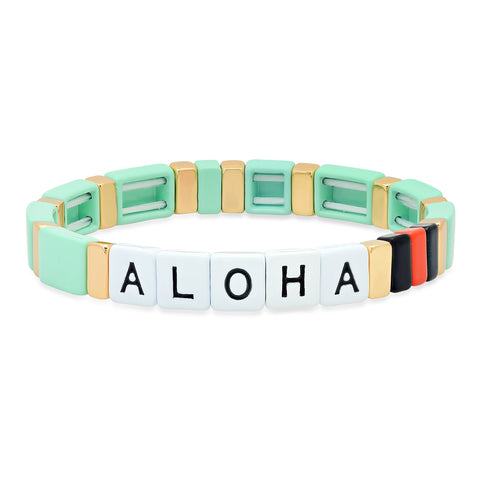 Mint Green Alloy Beaded Aloha Bracelet