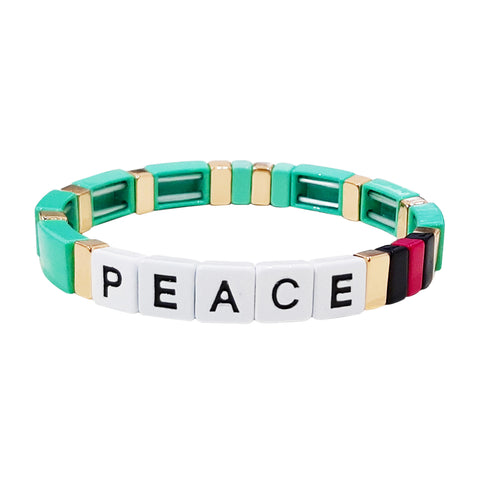 Green Peace Alloy Beaded Stretch Bracelet