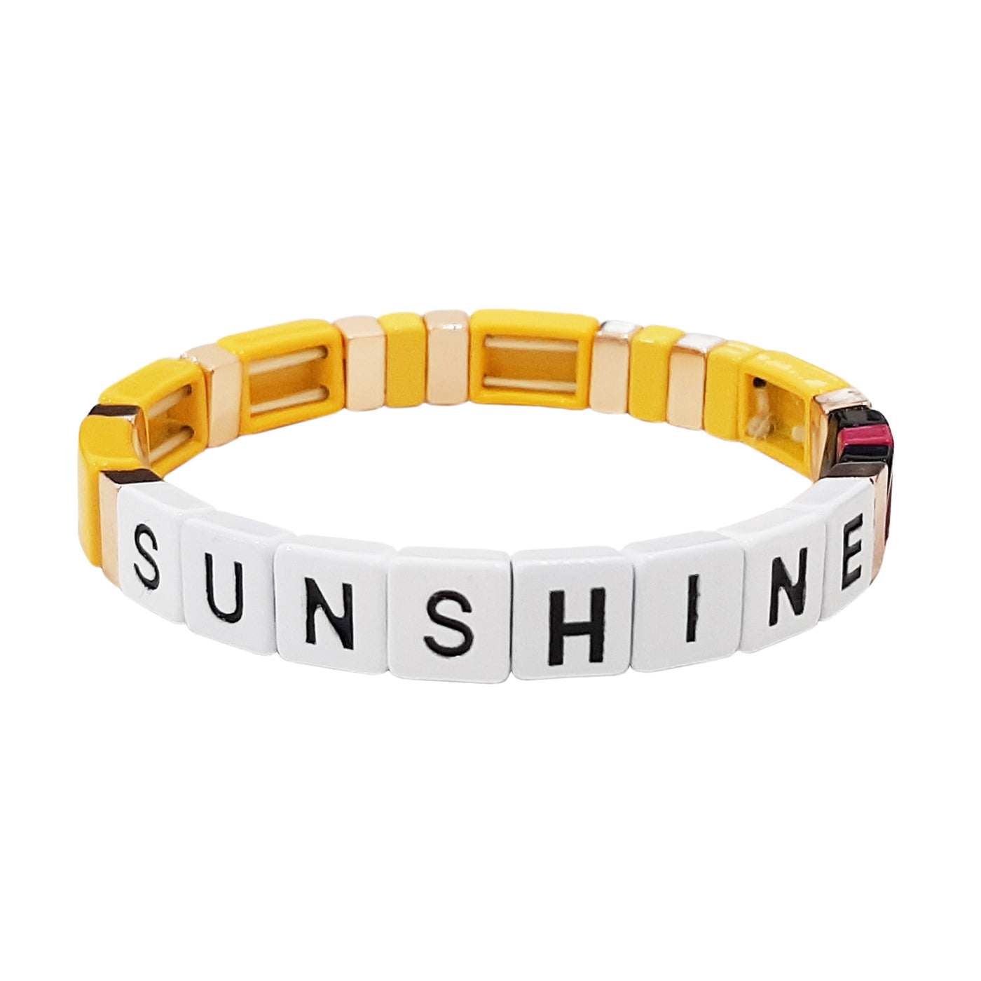 Sunshine Alloy Beaded Stretch Bracelet