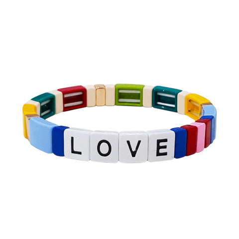 Multi-Colored Love Alloy Beaded Stretch Bracelet