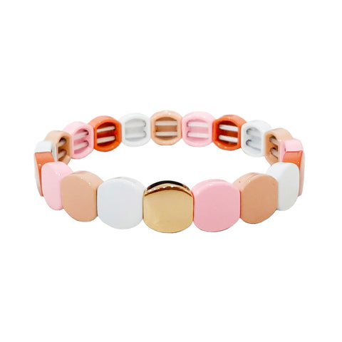 Round Pink Alloy Beaded Stretch Bracelet