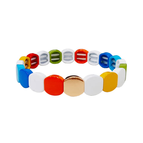 Round Multi Colored Alloy Beaded Stretch Bracelet