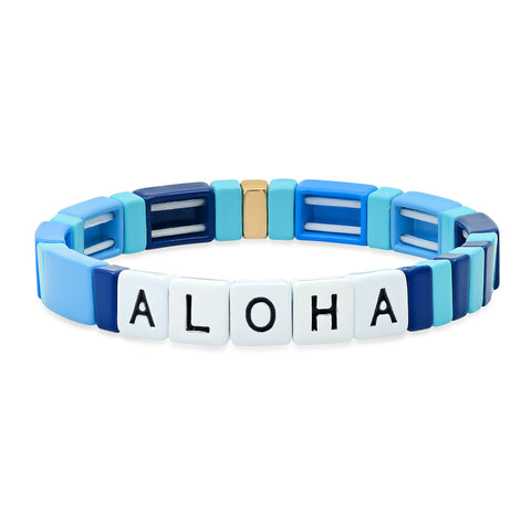 Multi- Blue Alloy Beaded Aloha Bracelet