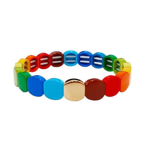 Round Rainbow Alloy Beaded Stretch Bracelet