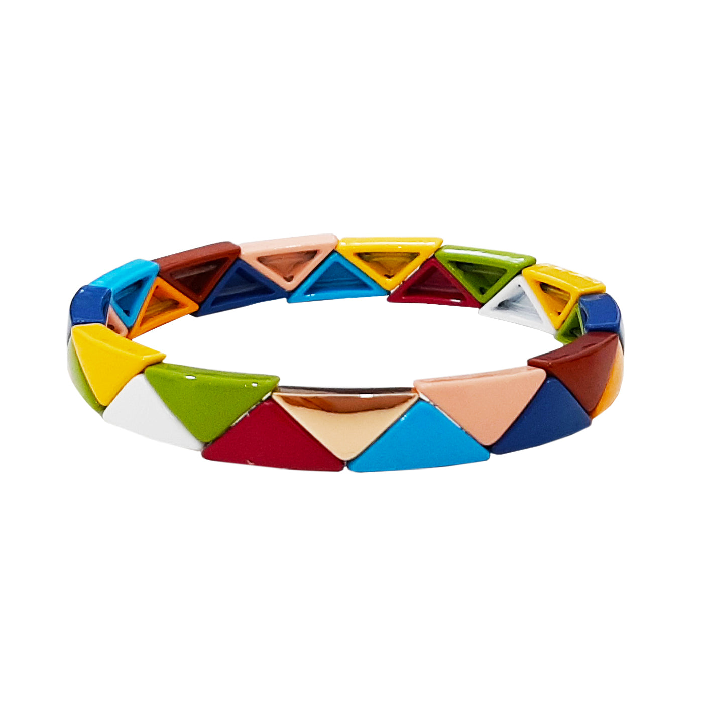 Triangle Multi Colored Alloy Beaded Stretch Bracelet