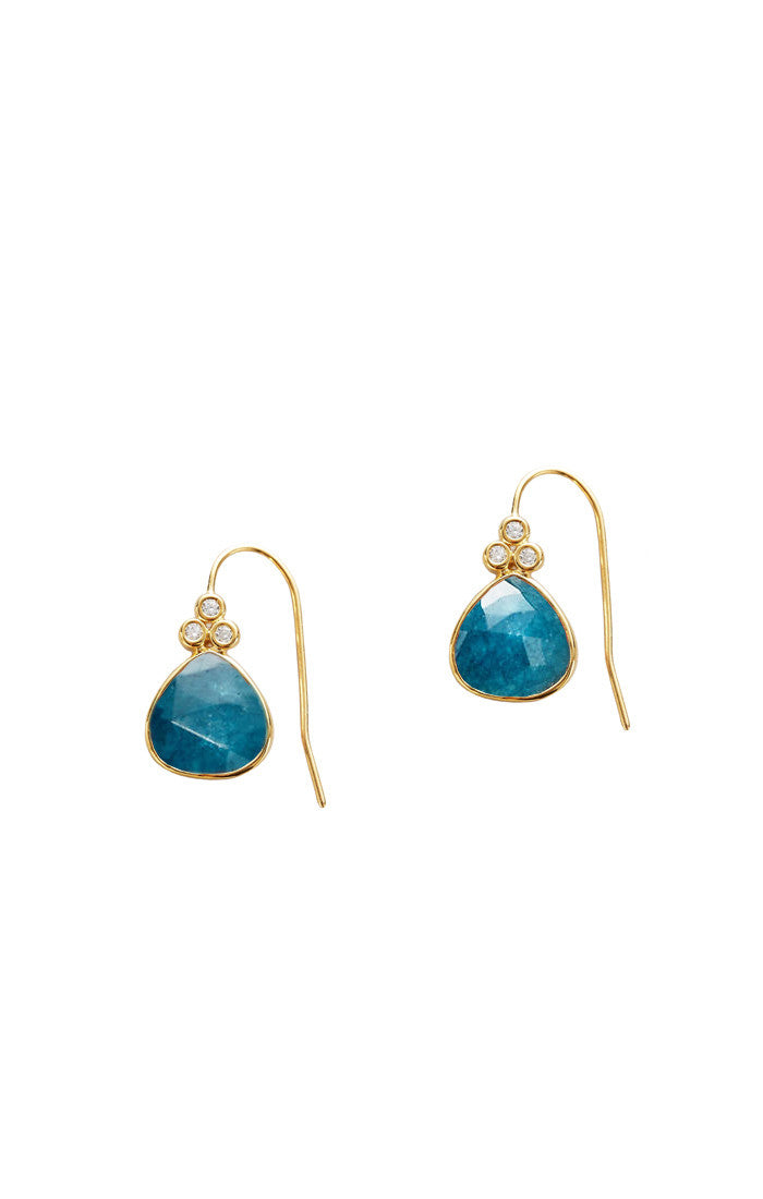 STONE DROP EARRING WITH TRIPLE CZ DETAIL