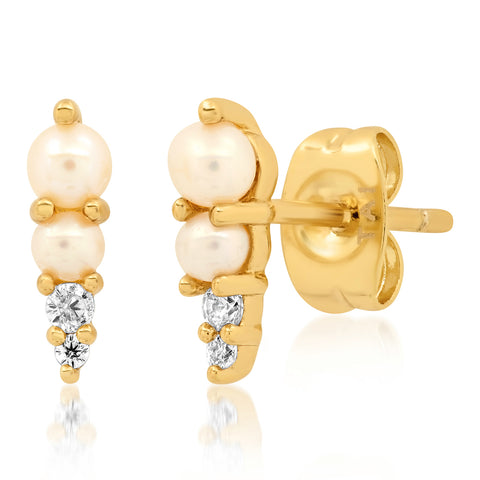 Pearl and CZ Spike Stud