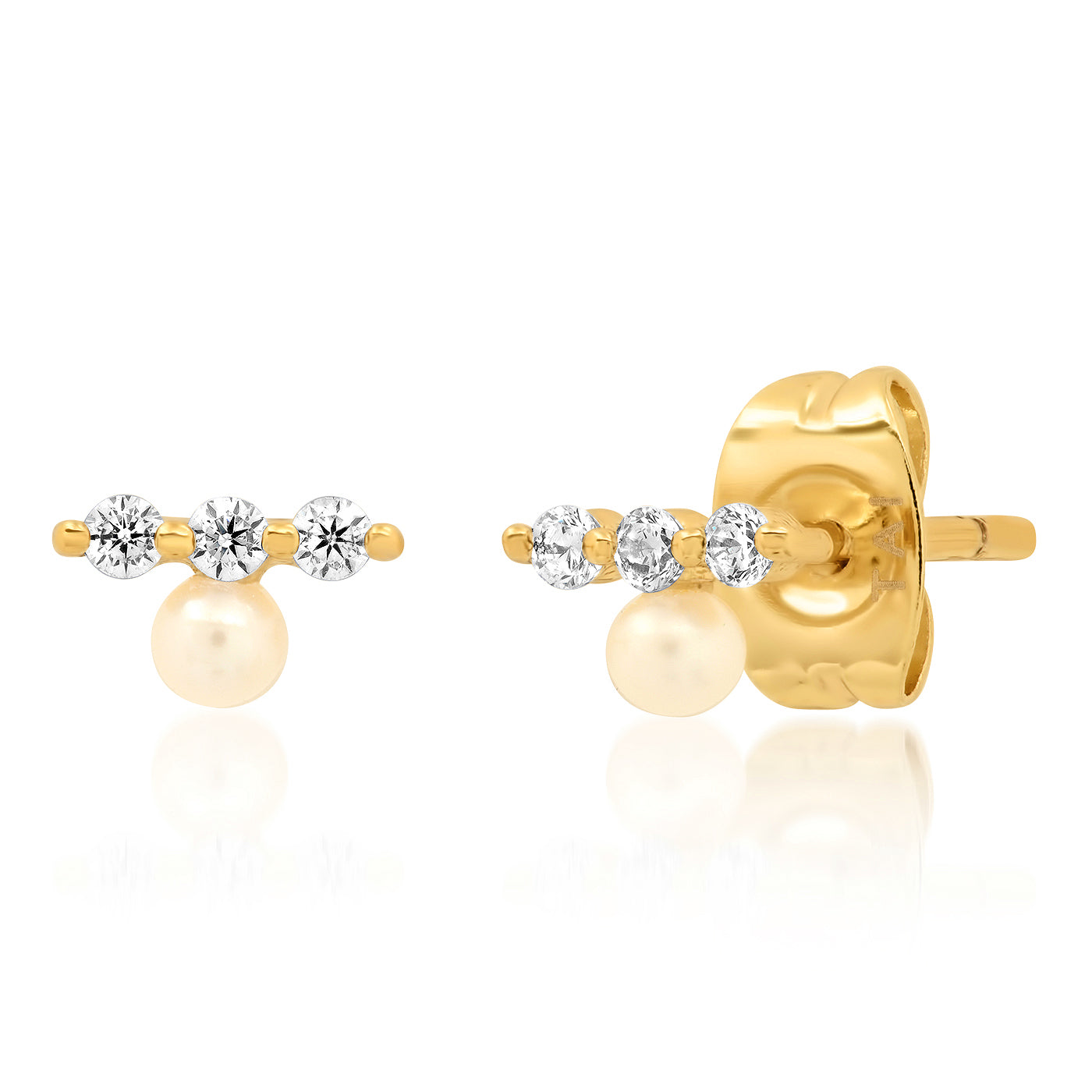 CZ Bar Stud with Single Pearl Accent