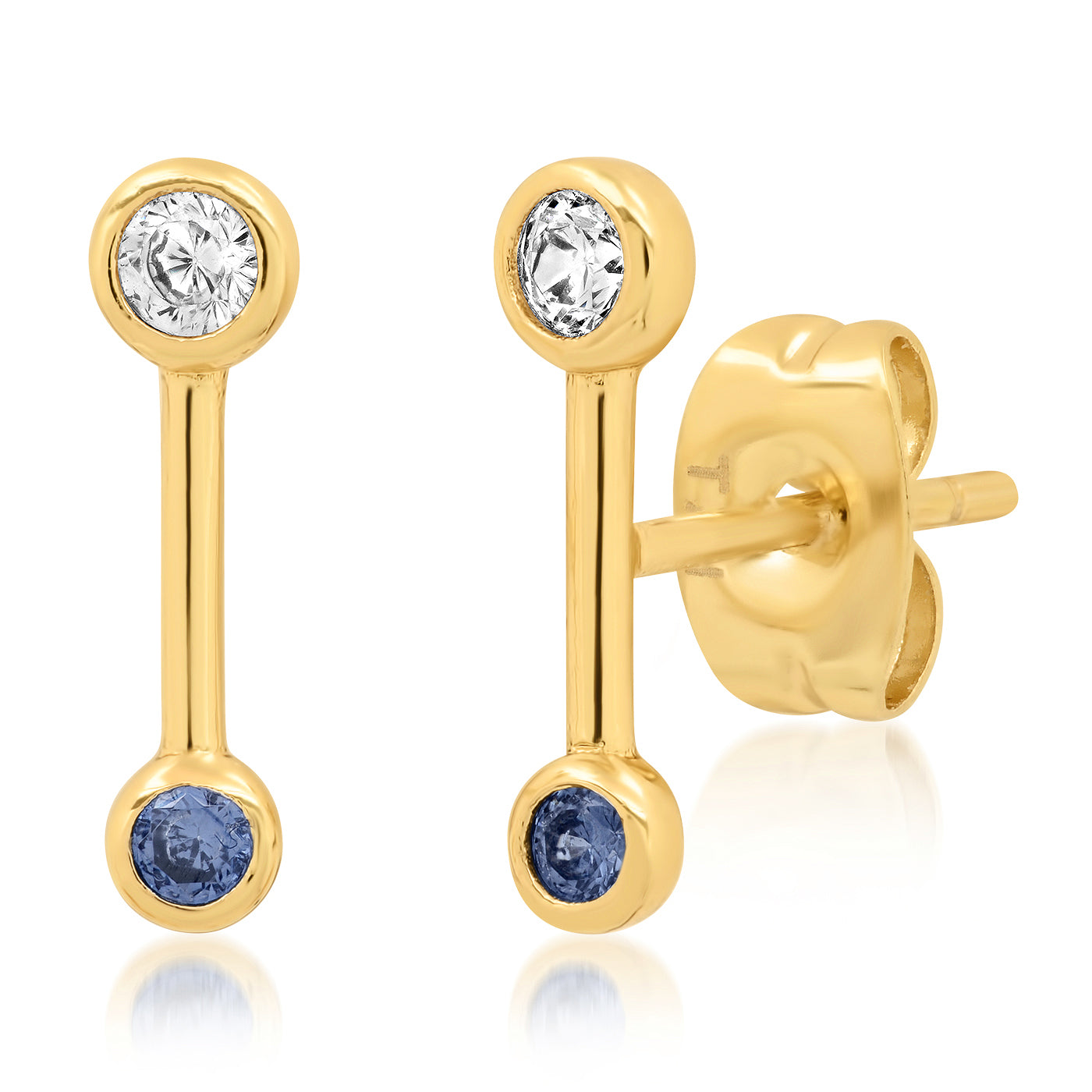 Gold Bar Studs with CZ & Blue Glass Accents