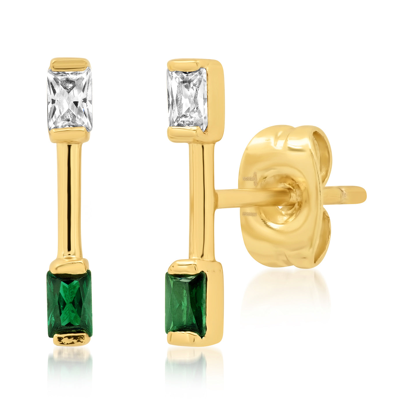 Gold Bar Stud with CZ and Emerald Green Stone Accents
