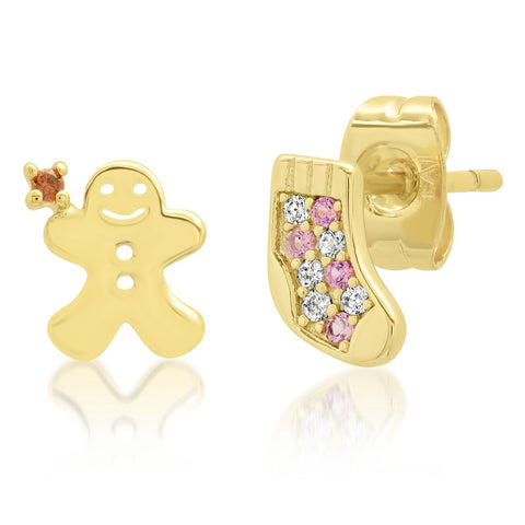 Gingerbread/Christmas Stocking Mismatched Studs